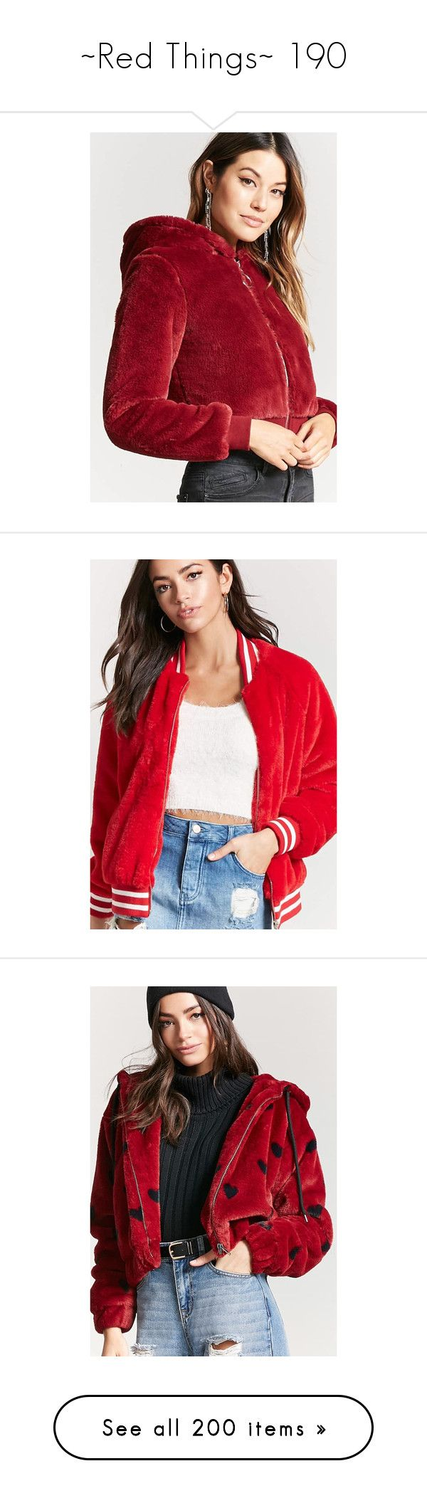 """""""~Red Things~ 190"""" by my-shiny-shackles on Polyvore featuring red, outerwear, jackets, forever 21, zip front jacket, hooded jacket, faux fur hood jacket, forever 21 jackets, long varsity jacket and pocket jacket"""