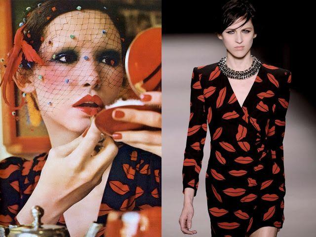 Vogue UK 1971 dress YSL vs. Saint Laurent Paris herinterpreteert de jurk van wijlen YSL voor SS 2014.