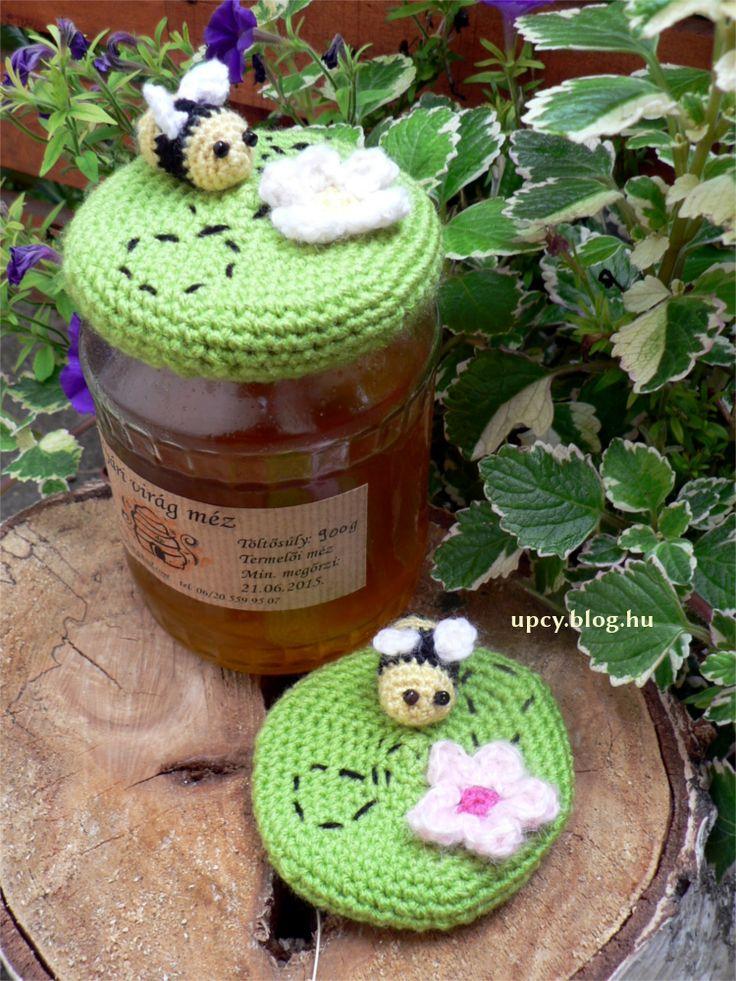 Crochet honey jar topper. Horgolt méz kupak.