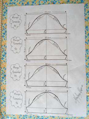 Manga para os vestidos envelopes tamanhos 40, 42, 44 e 46.