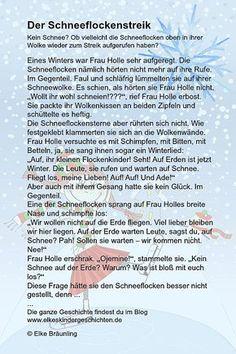 Elke Bräunling. Der Schneeflockenstreik. Kein Schnee in den Weihnachtsferien? Ob vielleicht die Schneeflocken oben in ihrer Wolke wieder zum Streik aufgeruf