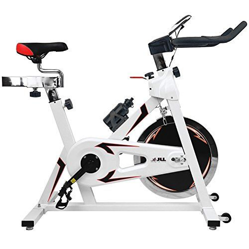 JLL® IC300 Indoor Cycling exercise bike, Fitness Cardio workout with adjustable resistance,18Kg flywheel which allows a smooth ride,Ergonomic adjustable handle bar and fully adjustable seat.12 months warranty (White) JLL http://www.amazon.co.uk/dp/B00R4NSBGQ/ref=cm_sw_r_pi_dp_eb52vb1MMZNA9