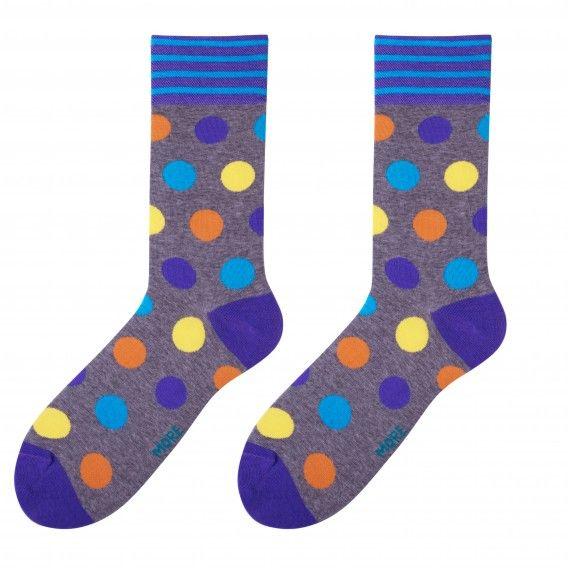 Sivé pánske ponožky s farebnými guličkami