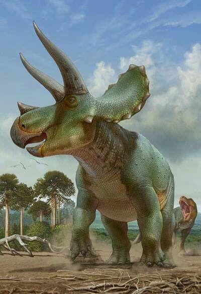 Triceratops & Tyrannosaurus. Art by Sergey Krasovskiy.