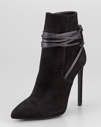 Point-Toe Leather-Wrap Suede Ankle Boot, Black by Saint Laurent at Neiman Marcus. #mavatarwish