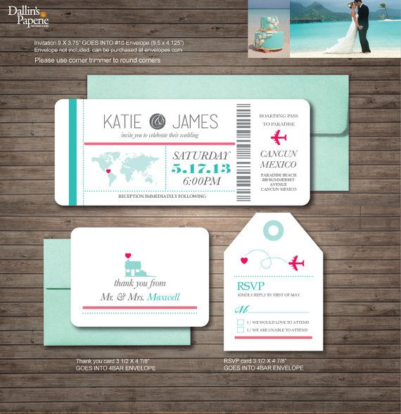 Destination Wedding Invitation printables beach by DallinsPaperie                                                                                                                                                                                 More