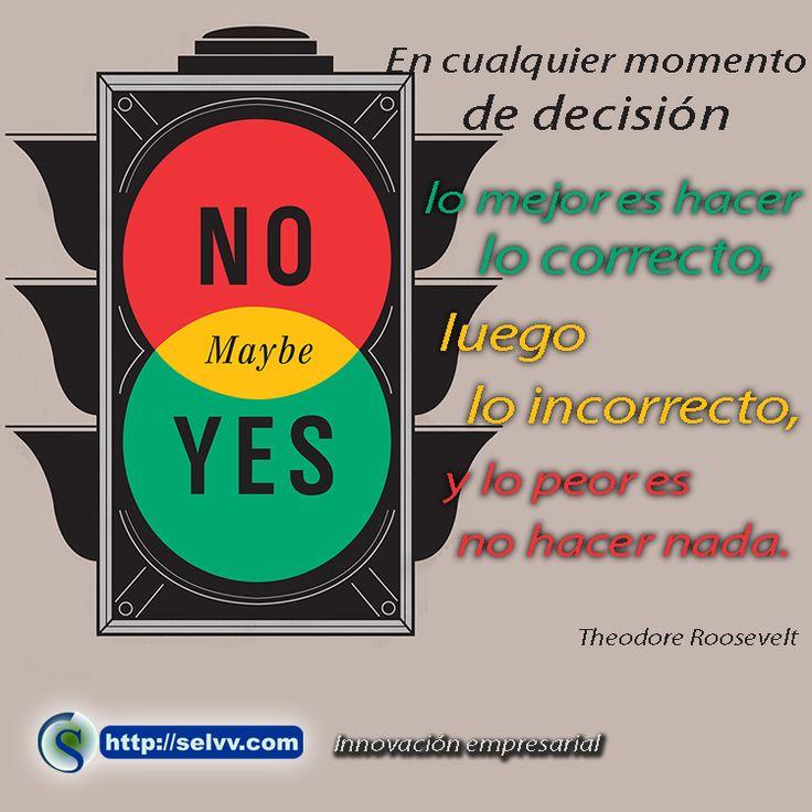 En cualquier momento de decisión lo mejor es hacer lo correcto, luego lo incorrecto, y lo peor es no hacer nada. Theodore Roosevelt. http://selvv.com/innovacion-empresarial/
