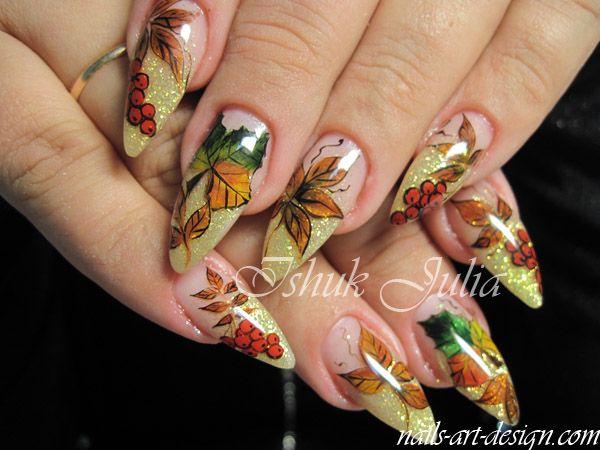 Diy Thanksgiving Autumn Fall Nail Art Nail Pinterest