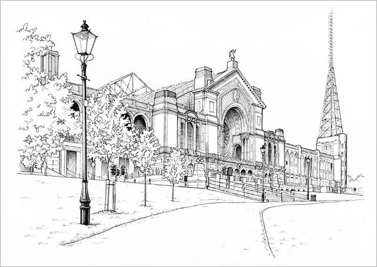 "Alexandra Palace Line Drawing Print: This is a view of Alexandra Palace, the famous landmark and music venue located in the borough of Haringey in north London. It was originally built in 1873, but following a fire was re-opened in 1875. Nicknamed ""The People's Palace"", it hosted the world's first regular television broadcast by the BBC in 1936.  Over the years it has been the venue for concerts by rock groups such as Led Zeppelin, Grateful Dead, Pink Floyd, Stone Roses, Blur and Suede as…"