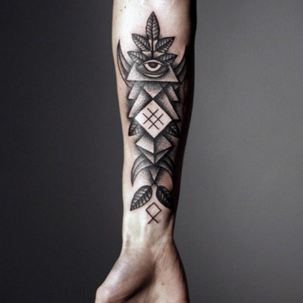 Grey Ink Geometric Triangle Tattoos On Forearm