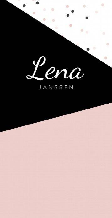 Stoer en strak geboortekaartje voor een meisje met geometrische vlakken en een stipjes patroon op de achtergrond in zwart en roze.