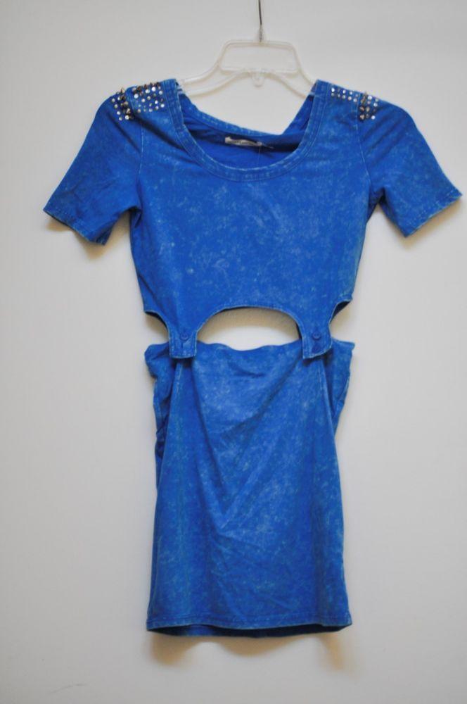 Mustard Seed Studded Blue Acid Garter Mini Dress Overall Body Flirty Cut-Out  S #MustardSeed #CutOutDress #Casual