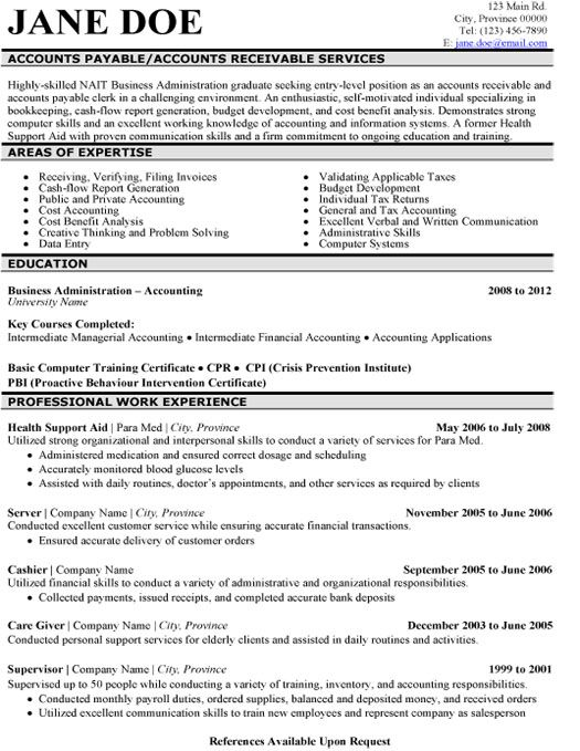 8 best Best Accounts Receivable Resume Templates  Samples images on - accounts receivable sample resume