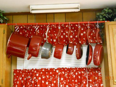 Hanging Pot Rack :: Hometalk Sweet idea.