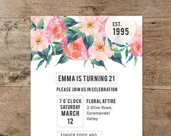 Tarjeta para imprimir de invitación y dirección de Boho Chic, hipster invitación, cumpleaños veintiuno, veintiún, floral, acuarela