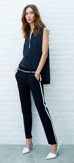 SLEEVELESS CONTRAST TIPPING BLOUSE + SKINNY TRAPPING TROUSER