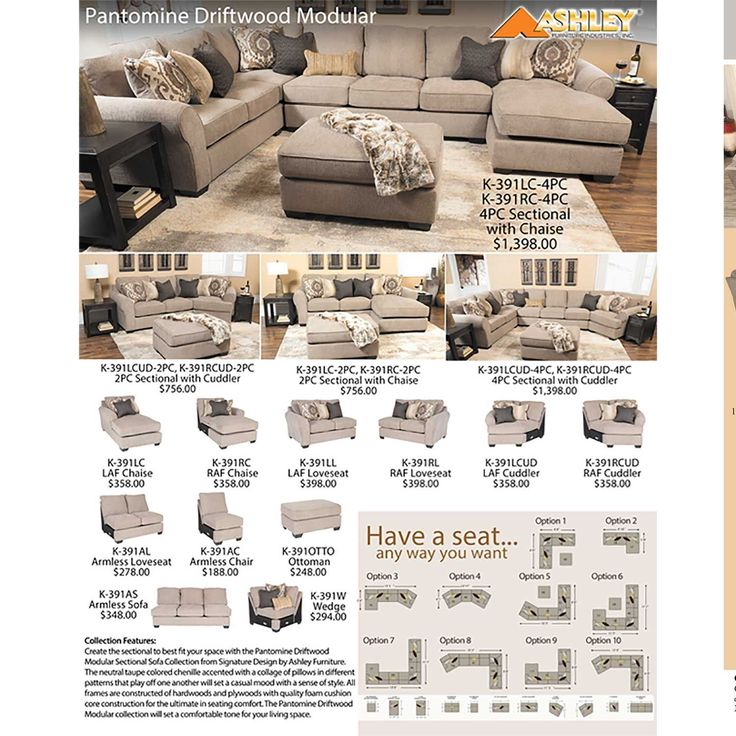 Pantomine 4PC with RAF Cuddler Sectional by Ashley Furniture is now available at American Furniture Warehouse. Shop our great selection and save!