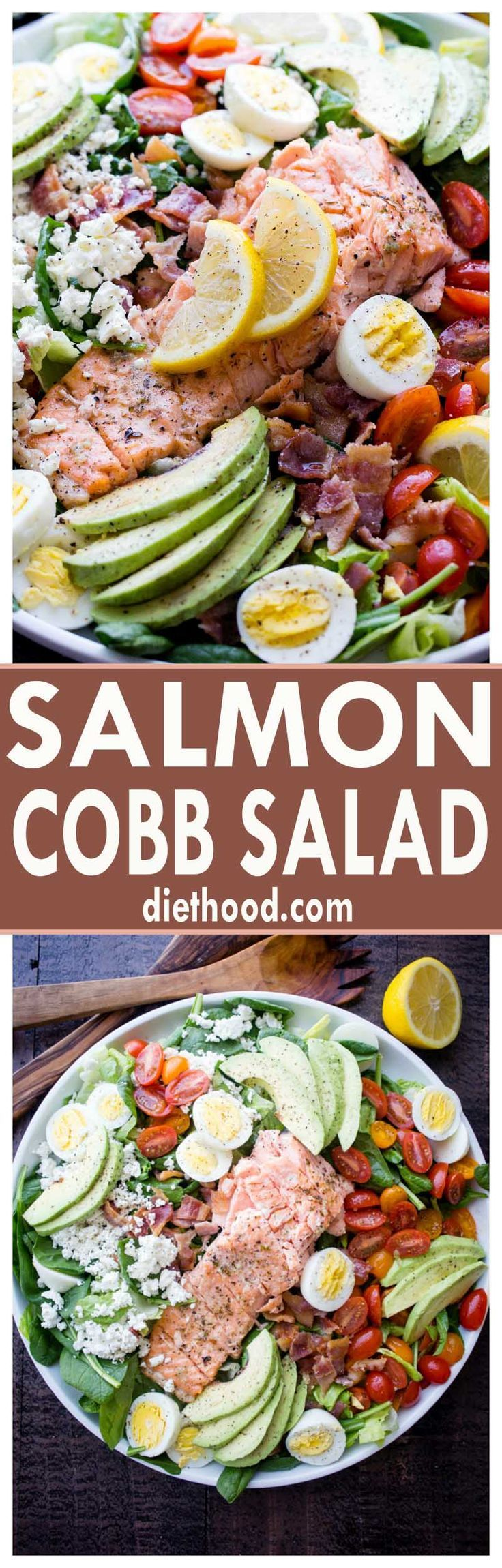 Salmon Cobb Salad with Spinach and Feta - Tender spinach and romaine lettuce topped with delicious oven-baked salmon, tomatoes, eggs, bacon, avocados and feta, all tossed together with a tangy lemon-mustard dressing.