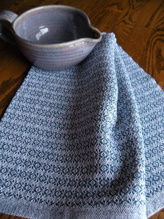 Handwoven Dish Towel Blue And White Towel by ThistleRoseWeaving