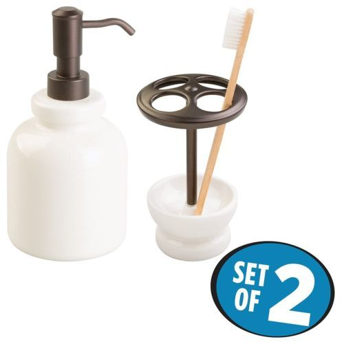 Features a French country design with a crackle finish. Made of ceramic with bronze accents. Refillable soap dispenser pump and a toothbrush holder for storing four toothbrushes. Also use the toothbrush holder for storing tweezers, razors, or cosmetic brushes.  #Bathroom #Shower #Toilet #Accessory #Soap #Dispenser #Holder
