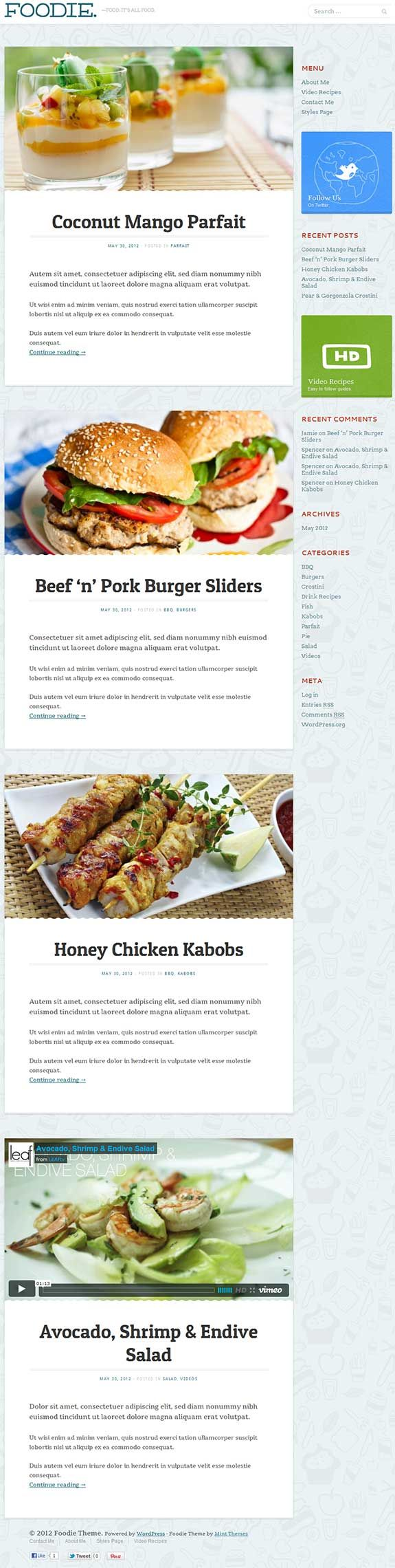 Simple and clean premium food blog WordPress theme from Mint Themes