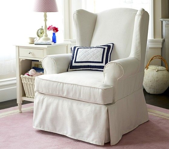 Perfect Slipcovered Wingback Glider | Pottery Barn Kids