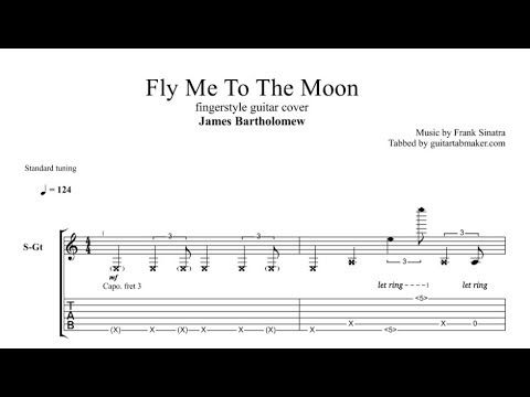Fly Me To The Moon Tab Fingerstyle Guitar Tab Pdf Guitar Pro Youtube Fingerstyle Guitar Guitar Tabs Guitar Sheet Music