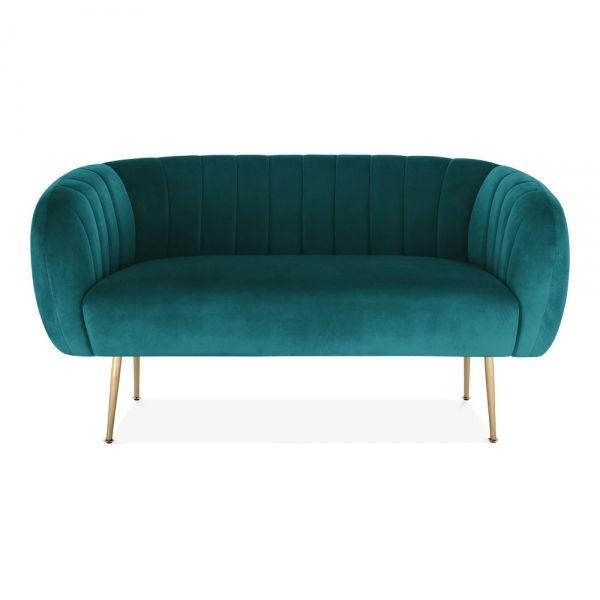 Petrol Effie Velvet Upholstered 2 Seater Sofa Modern Sofas In