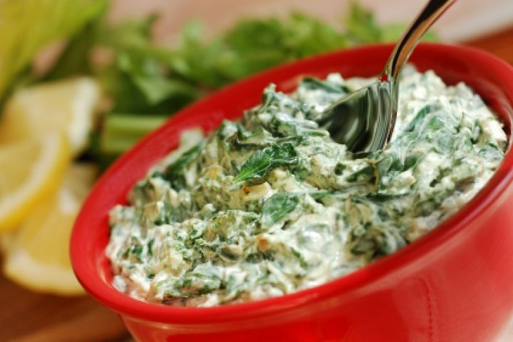 Artichoke Spinach Dip: Ingredients: 1 cup artichoke hearts, 1/2 cup spinach, 2 tbsp water, 4 oz cream cheese, 4 oz Greek yogurt, 1/2 cup parmesan cheese, 2 tbsp low-fat milk, 1/2 tsp salt, Directions: visit www.doctoroz.com