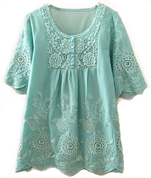 Green Short Sleeve Hollow Embroidery Blouse