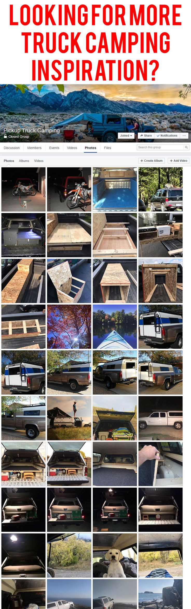 Looking for more truck camping inspiration? Click to join the largest and most active group on Facebook for truck canopy campers. Get your questions answered, share photos, and more... http://www.facebook.com/groups/truckcamping