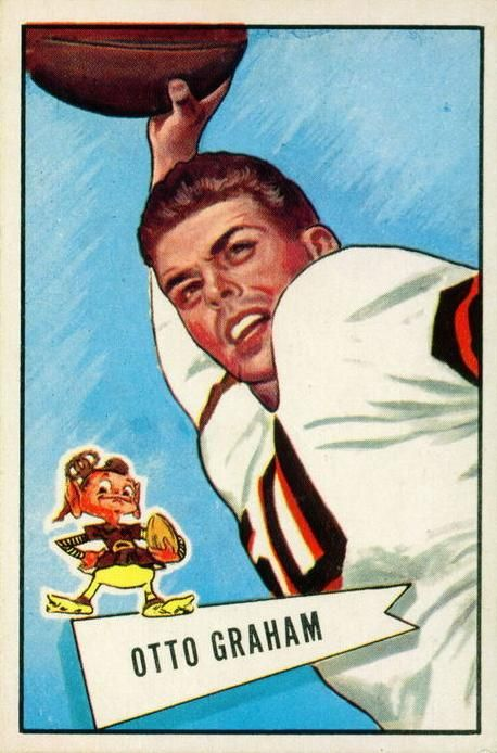 1952 Bowman 2 Otto Graham football card was printed in two different sets by Bowman that year. They were identical except one was a large se...
