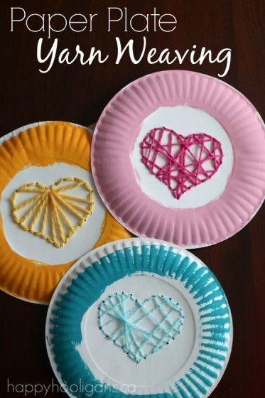 Paper Plate Yarn Weaving - Sewing Hearts