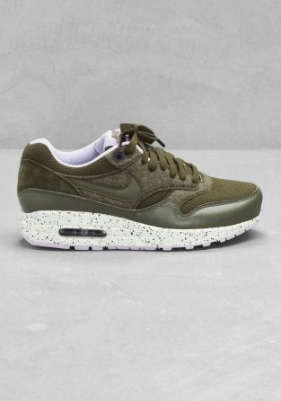Nike air max 1 olive green with leather and suede details. Love them!