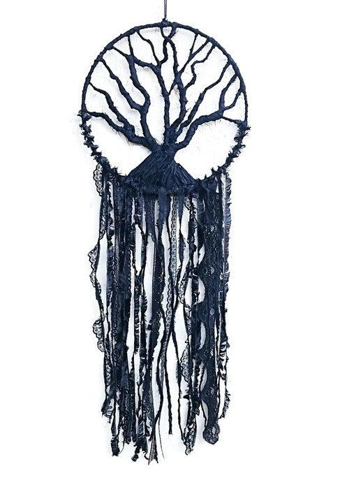 Tree Of Life Dreamcatcher - Black Tree Of Life - Black Dreamcatcher - Tree Of Life - Black Wall Decor - Black Wall Hanging - Black Lace - by Kishayasdreamcatcher on Etsy https://www.etsy.com/nz/listing/498759808/tree-of-life-dreamcatcher-black-tree-of