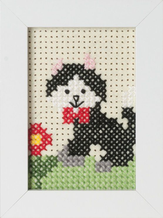 Cat Felt Cross Stitch Kit With Frame £7.75 | Past Impressions | Groves