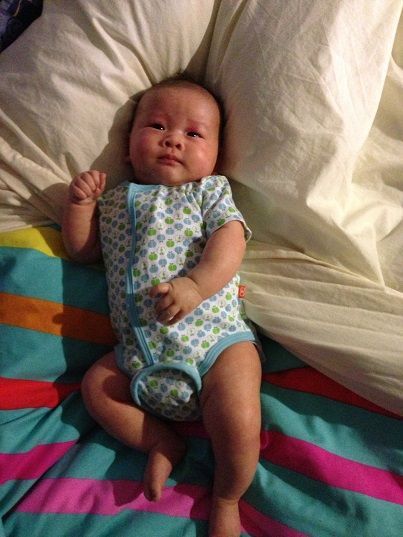 Baby Issac in his Apples Onesie