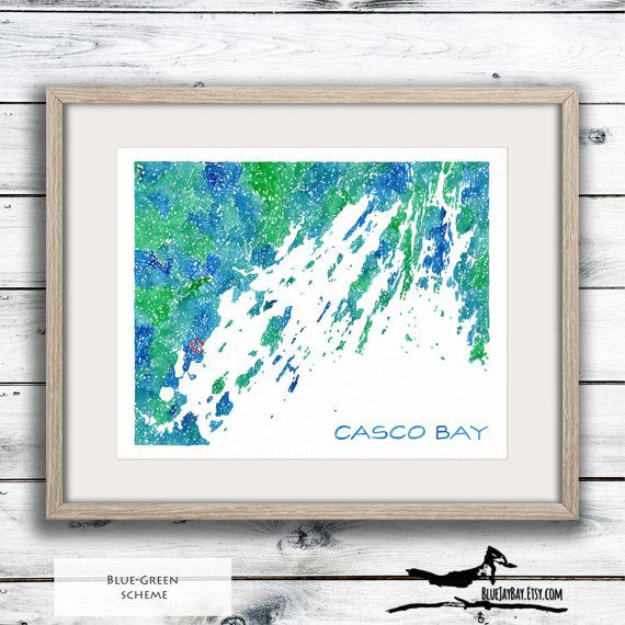 Casco Bay Maine Coast Art Map - Custom Map Painting - Maine Wedding Gift for Couple - Unique Map Gift - Anniversary Gift for Him Maine Art