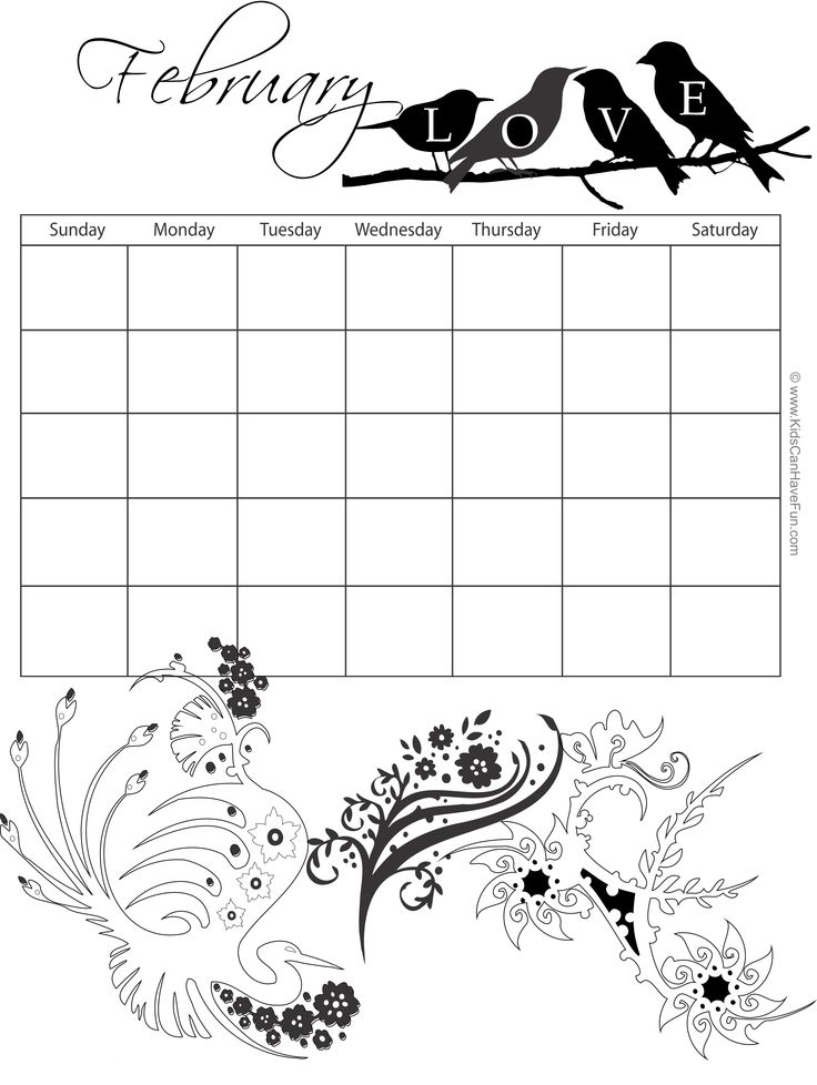 february monthly coloring calendar httpwwwkidscanhavefuncomprintable
