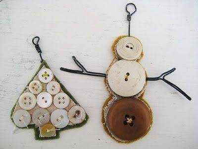 Would be cute on large wire chain links with a little linen and lace tied here and there for holiday necklace or garland