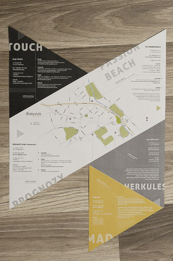 Bialystok clubs - folding leaflet by Michał Kulesza, via Behance