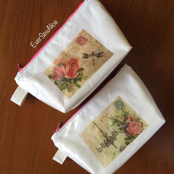 Handmade Purse - Victorian Post Card - Cosmetic Purse - Bags and purses - Cosmetic Pouch - Plastic Covered Purse - Dragonfly