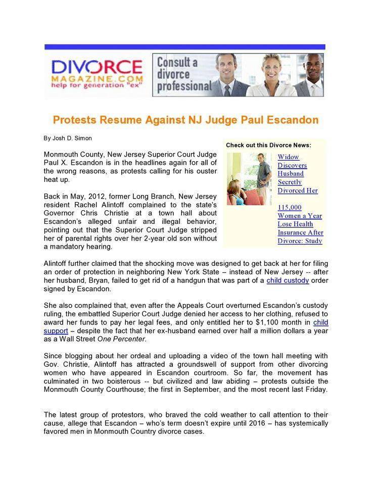 219 best divorce magazine images on pinterest magazine divorce protests resume against nj judge paul escandon read more http solutioingenieria Images