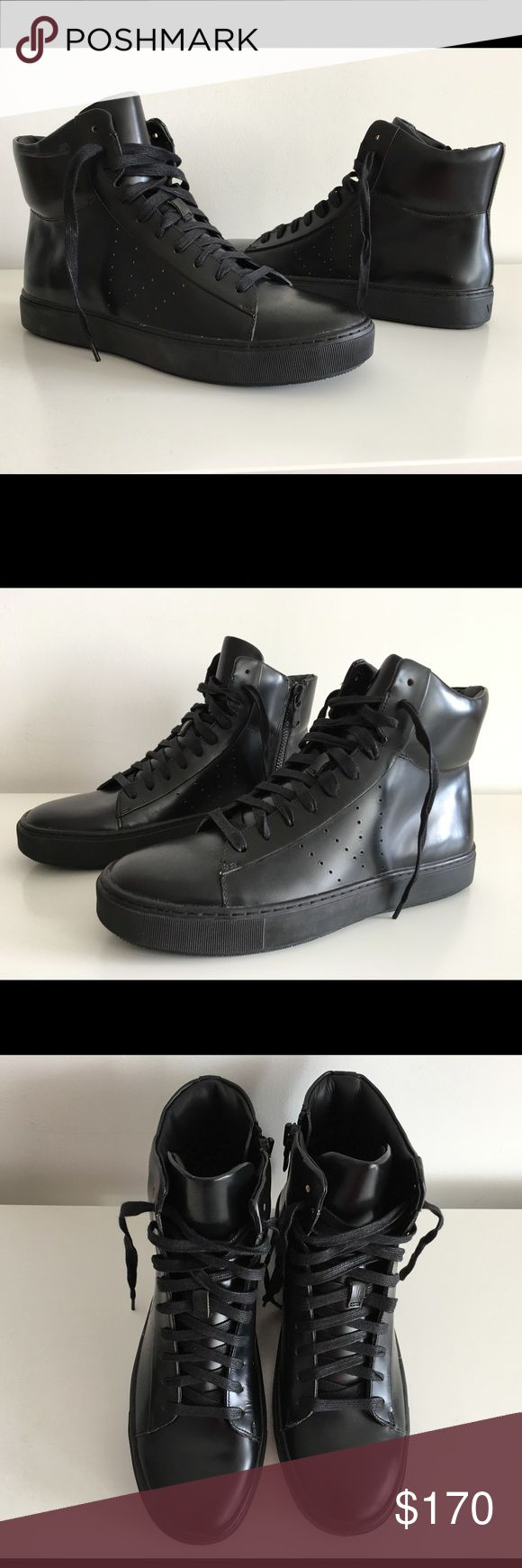 VINCE BLACK HIGH TOP SNEAKERS, SIZE USA9, EUR42.5 VINCE BLACK HIGH TOP SNEAKERS, SIZE USA9, EUR42.5, LACE-UP, ZIP FASTENING ALONG SIDE, BRAND NEW WITH BOX AND DUST BAG Vince Shoes Sneakers