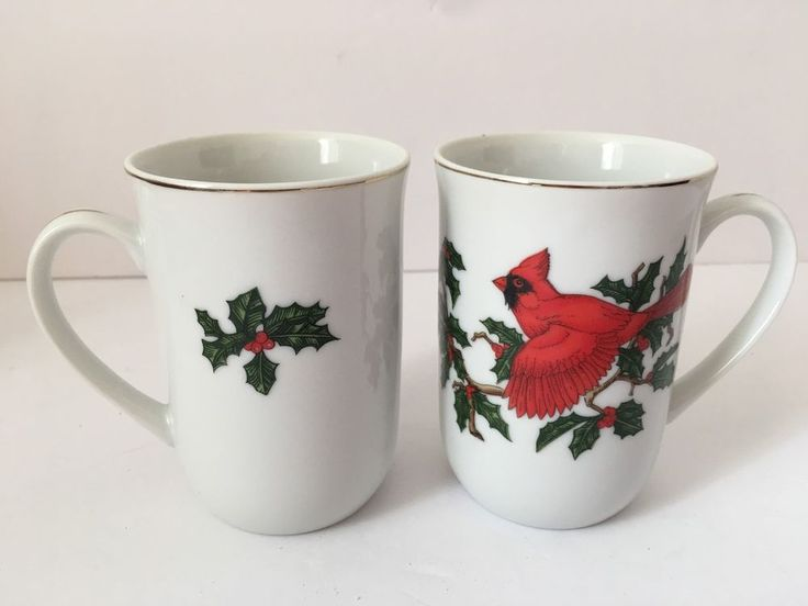 Set 2 LEFTON Coffee Mugs Holly Berry Red Cardinal Bird Christmas Tea Cups 01062 #Lefton