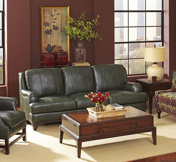 Beautiful Mardi Green Leather Sofa.                                                                                                                                                                                 More