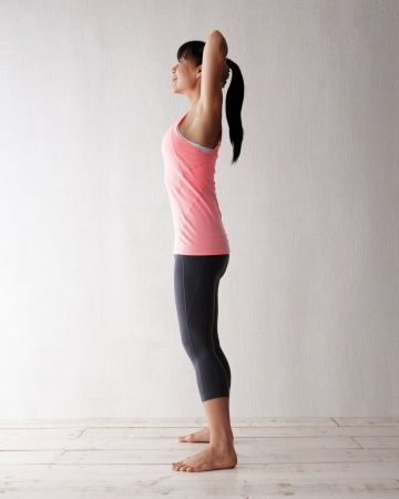 Standing Backbend: Strengthens the arms and upper back while stretching the deep fascia & muscles of the neck, chest, & abs, Wholeliving.com