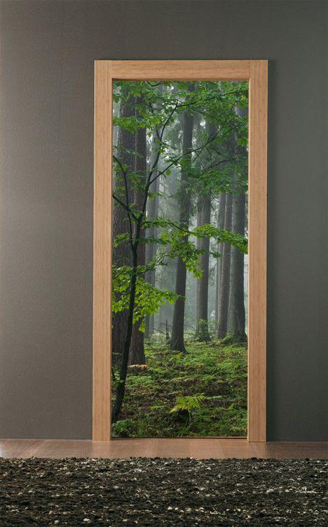 Porta Floresta 2 Autocolante Decorativo para Porta - €59.90 : Colantes.com - Decore a sua casa, ambientes perfeitos, Telas Magneticas