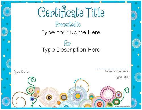 Website offering free printable certificates for all sorts of things.!!