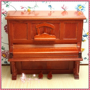 "Dollhouse Miniature A Wooden Antique Upright Piano.   Height 11.1cm  4""2/5 ; Length 13cm 5""1/10; Depth 5.2cm  2"""